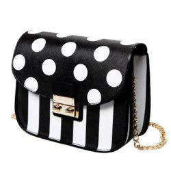 Fashion Chain and Polka Dot Design Crossbody Bag For Women - BLACK