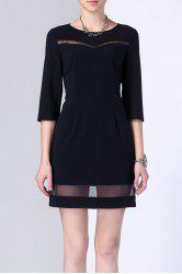 Sheer Stripe Hollow Out Gauze Panelled Dress -