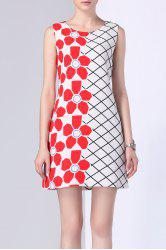 Floral Print Checked Panel Dress -
