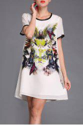 Butterfly Print Spliced Silk Dress -