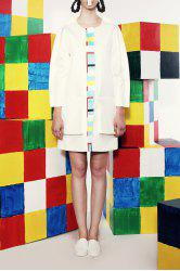 White Stereoscopic Pockets Trench Coat -