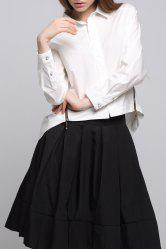 Long Sleeve Cropped Shirt in White -