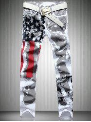 Patriotic Printing Zip Fly Straight Legs Denim Pants - Blanc