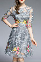 Round Neck Floral Embroidery Dress -