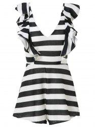 Stylish V-Neck Striped Flouncing Women's Playsuit