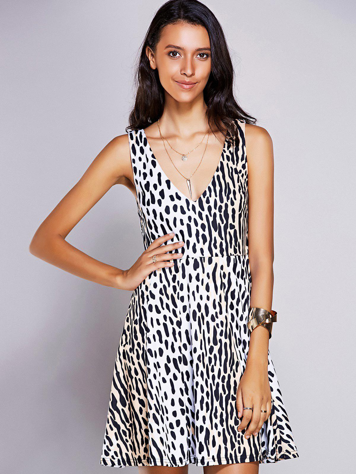 Hot Stylish V-Neck Print A-Line Dress For Women