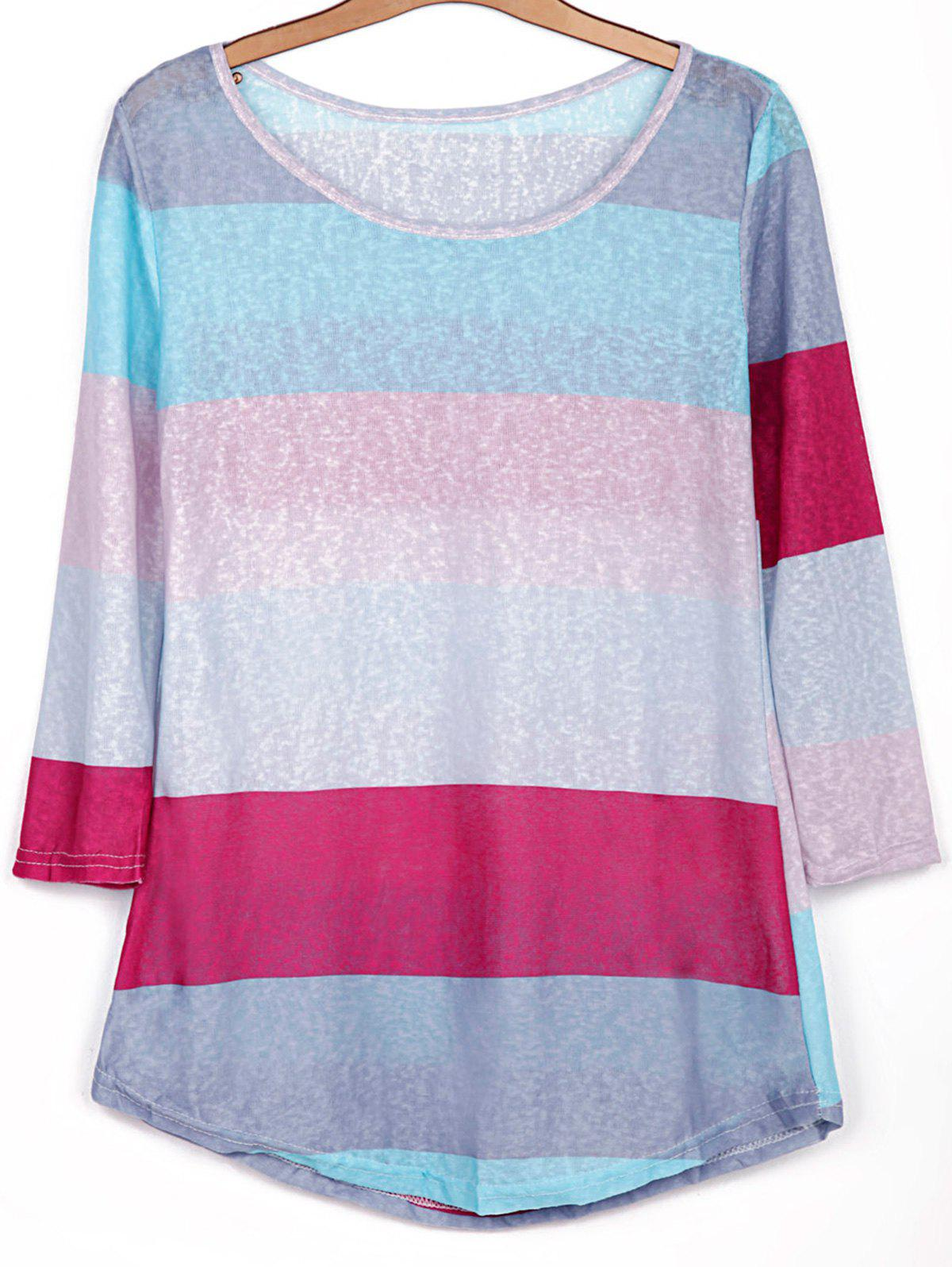Store Stylish Scoop Neck 3/4 Sleeve Striped Colored Women's T-Shirt