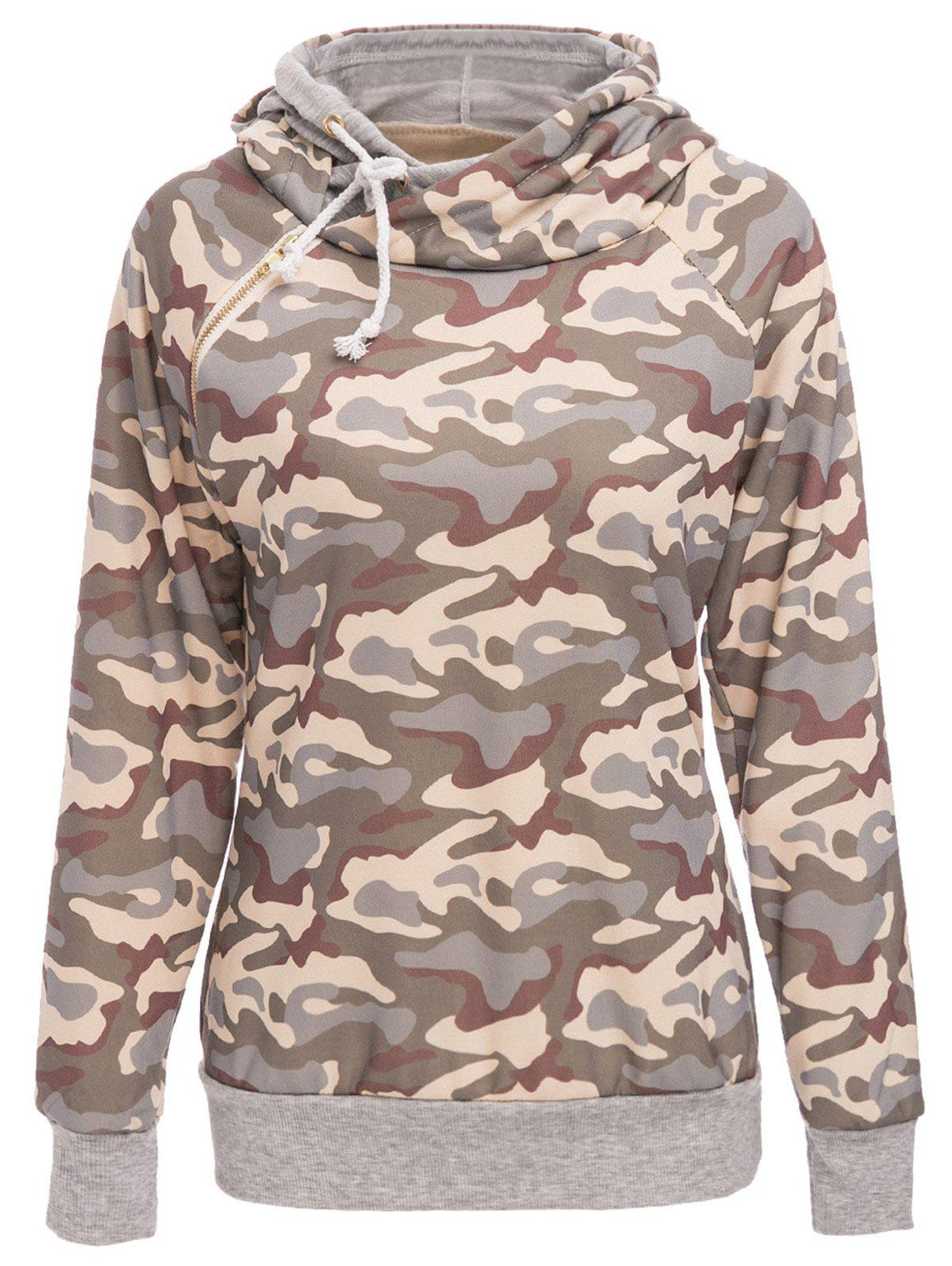 Fashion Stylish Hooded Long Sleeve Camo Print Women's Pullover Hoodie