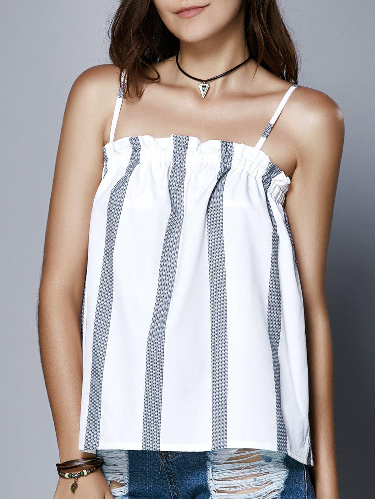 Latest Cute Spaghetti Strap Stripe Print Ruffled Women's Tank Top