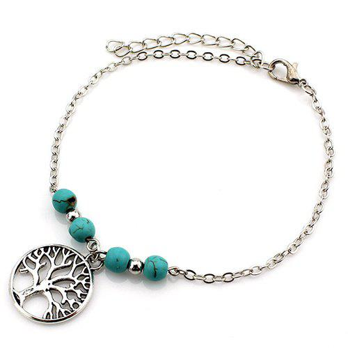 Chic Fake Turquoise Beads Life Tree Charm Anklet