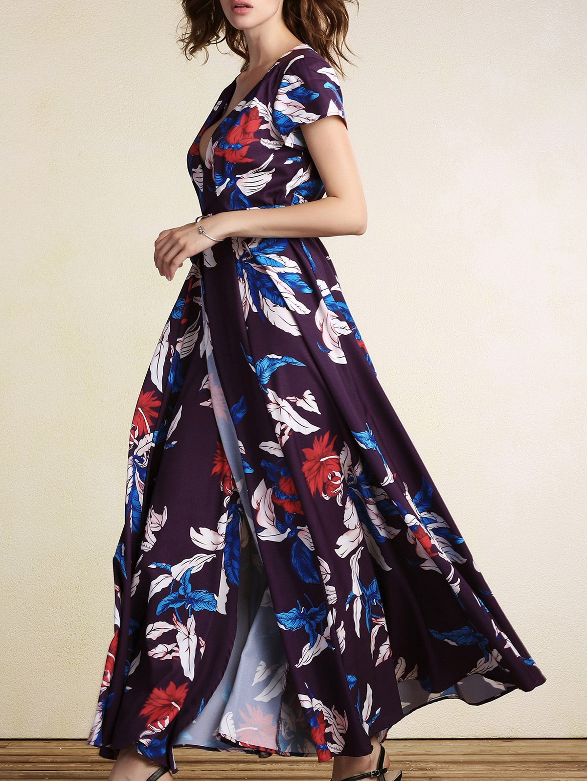 Outfits Floral Print Short Sleeve Wrap Maxi Dress