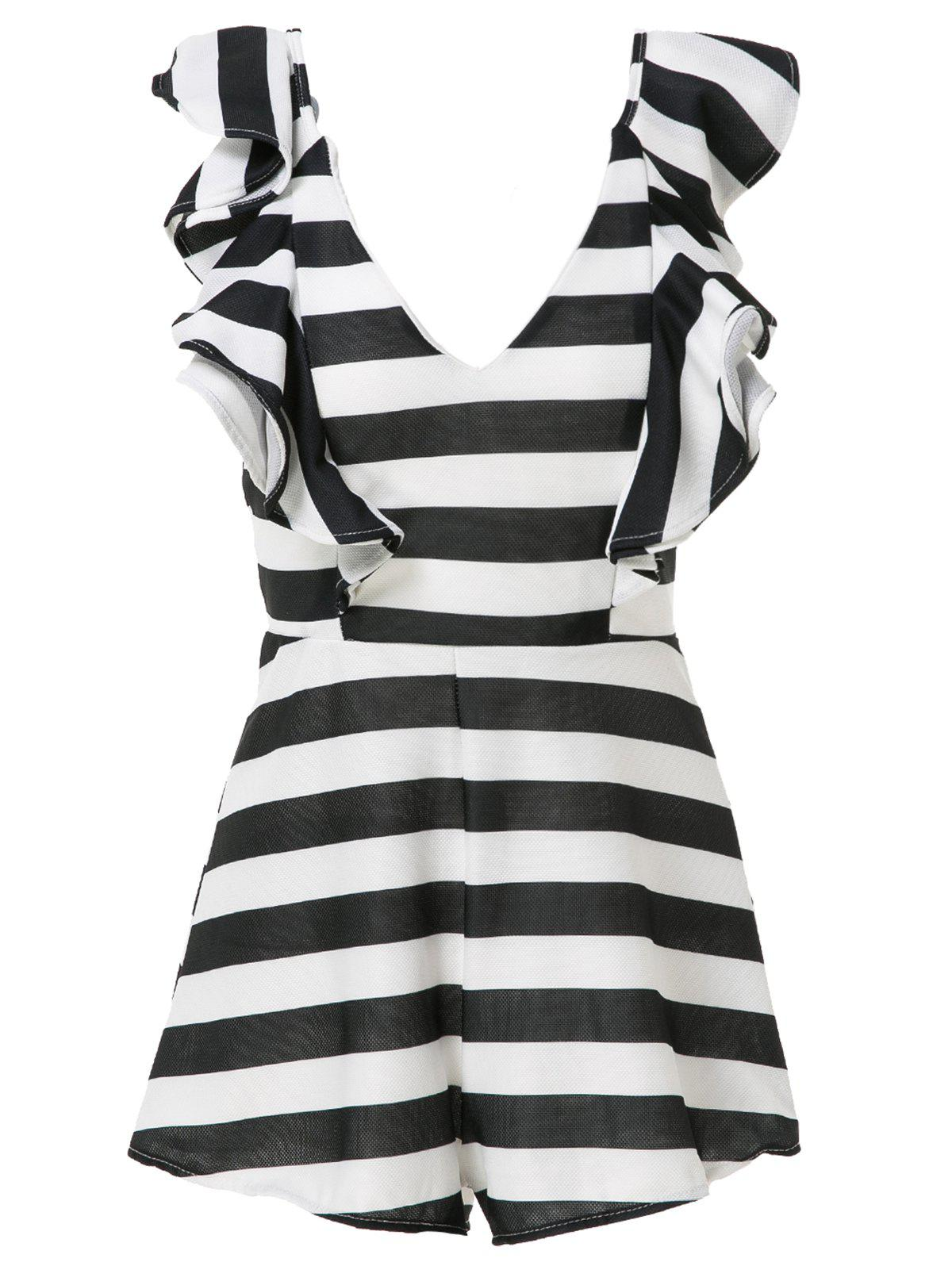 Outfits Stylish V-Neck Striped Flouncing Women's Playsuit