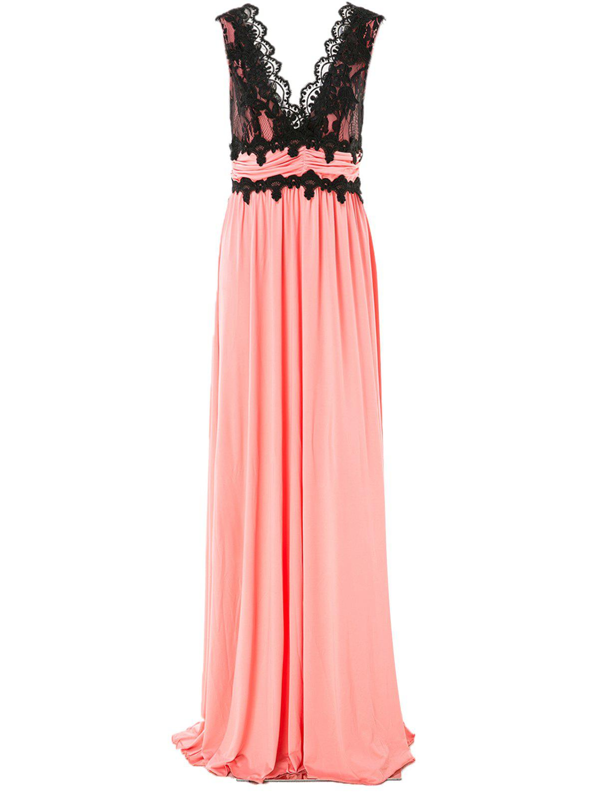 Hot Charming Women's Pluning Neck Sleeveless Lace Spliced Maxi Dress