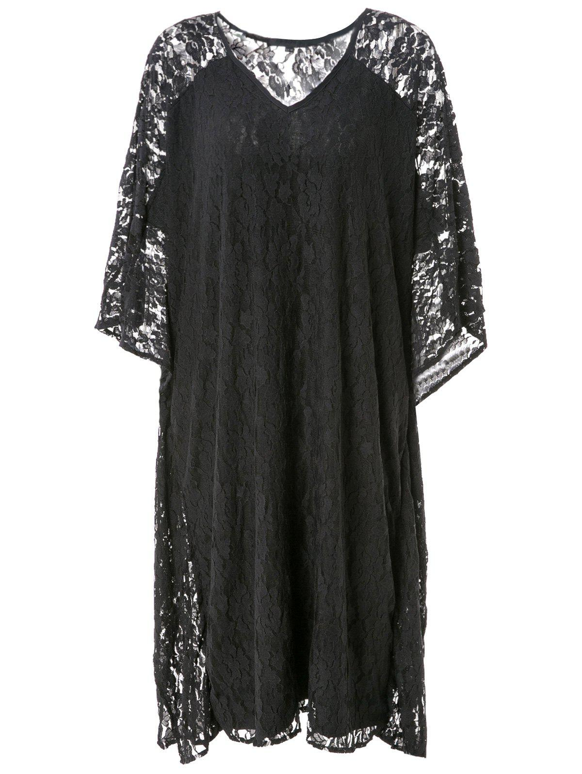Store Hollow Out Lace Kimono Sleeve Dress