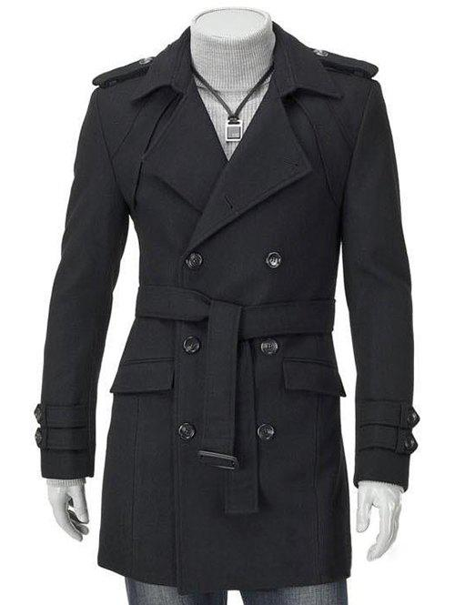 Chic Turn-Down Collar Epaulet Design Double Breasted Long Sleeve Woolen coat For Men
