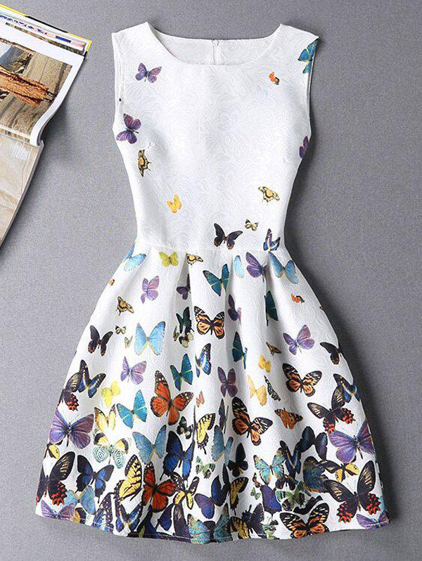 Cheap Sleeveless Butterfly Mini Casual Spring Everyday Dress
