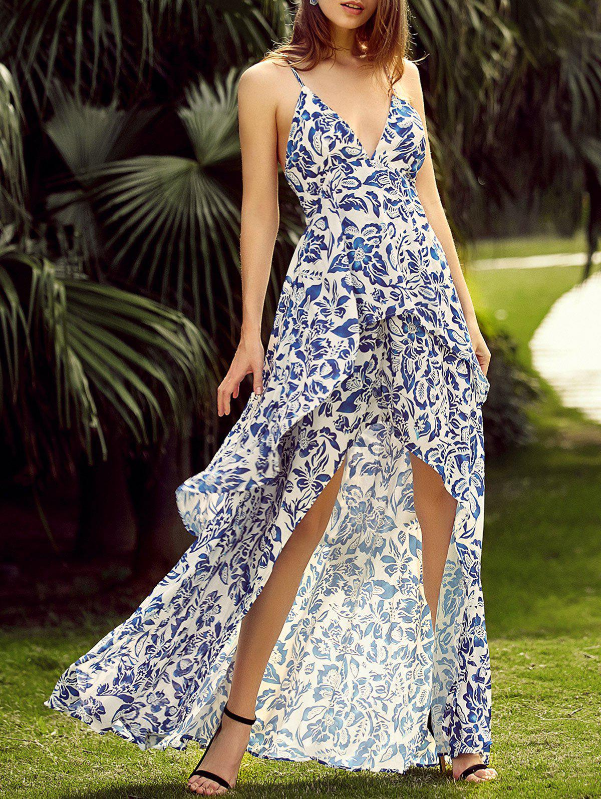 215a2de1664f 16% OFF] Floral Backless Maxi Slip Flowy Summer Dress | Rosegal