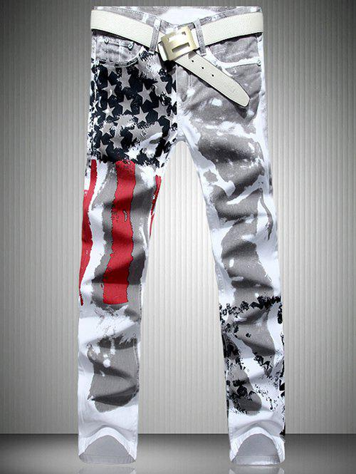 Patriotic Printing Zip Fly Straight Legs Denim PantsMEN<br><br>Size: 31; Color: WHITE; Material: Jeans; Pant Length: Long Pants; Wash: Colored; Fit Type: Regular; Waist Type: Mid; Closure Type: Zipper Fly; Weight: 0.4690kg; Pant Style: Straight; Package Contents: 1 x Pants;