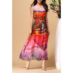 Scoop Neck Colorful Beach Dress - Colormix - Xl