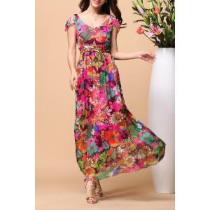 Backless Floral Short Sleeve Maxi Swing Summer Dress - Colormix - M