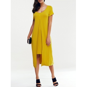 Elegant Scoop Collar Short Sleeve False Bifurcate Dress