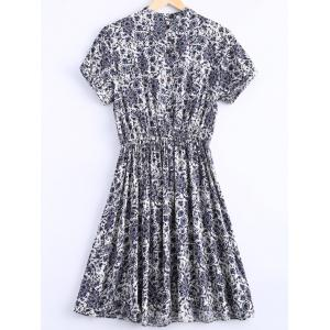 Stylish Stand Collar Short Sleeves Paisley Print Dress For Women