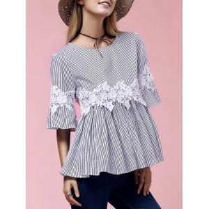 Stylish Flare Sleeve Round Neck Lace Embellished Women's Blouse - Blue - M