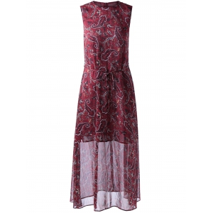 Retro Style Round Collar paisley Printing Dress With Sleeveless For Women - Wine Red - S