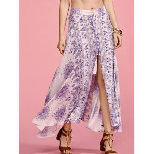 Stylish High Waisted Ethnic Print Slit Women's Skirt