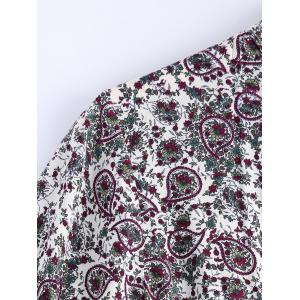 Stylish Stand Collar Short Sleeves Paisley Print Dress For Women -