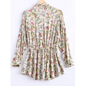 Vintage Long Sleeves Drawstring Waist Floral Shirt Dress For Women -