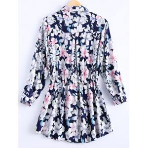 Vintage Loose-Fitting Floral Print Shirt Dress For Women -