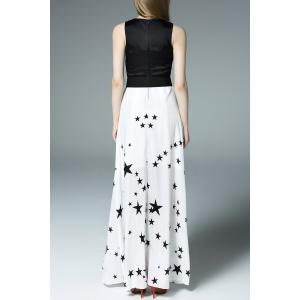 Stars Print Belted Maxi Dress -