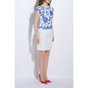 Floral Embroidery Round Neck Sheath Dress -