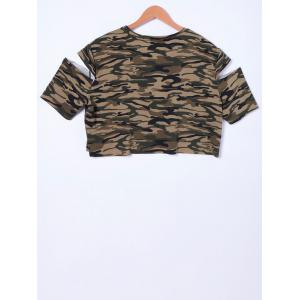 Fashionable Camouflage Cold Shoulder Top For Women - CAMOUFLAGE S