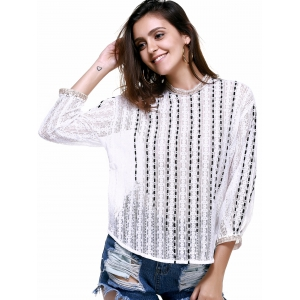 Elegant RoundNeck Openwork Lace Long Sleeves Blouse For Women -