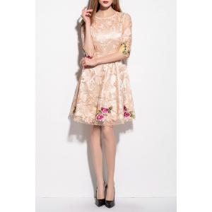 Voile Spliced Floral Embroidery Dress -