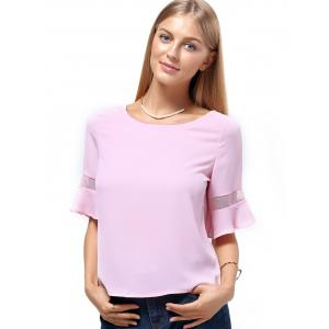 Sweet 1/2 Sleeve Jewel Neck Pure Color Spliced Women's T-Shirt -