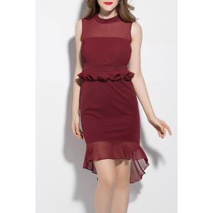 Stand Neck Solid Color Mermaid Dress -
