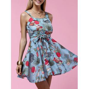 Fashionable Sleeveless High-Waisted Printed Slimming Women's Dress