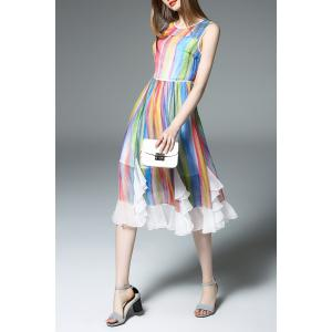 Round Collar Colorful Stripe Dress -