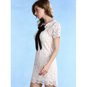 Sweet Cami Top + Bow Tie Neck Short Sleeve Lace Dress Women's Twinset - WHITE XL