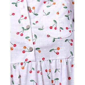 Sweet Short Sleeve Cherry Print Women's Mini Dress - WHITE 2XL