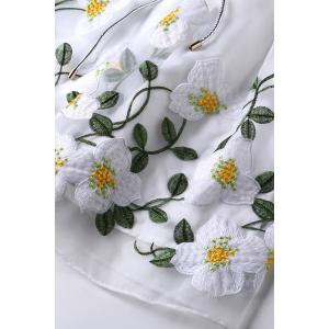 Round Collar Flower Embroidered Belted Dress -