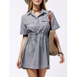 Plus Size Shirt Collar Striped Linen Dress
