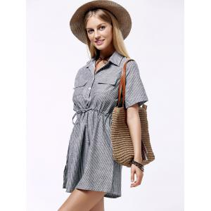 Plus Size Shirt Collar Striped Linen Dress - GRAY 3XL