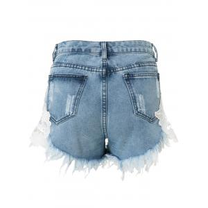 High-Waisted Lace Spliced Ripped Jean Shorts -