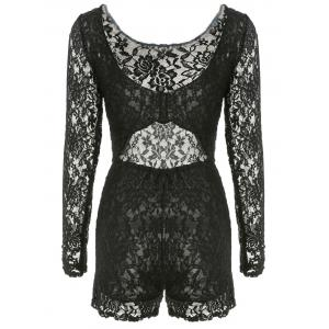 Open Back Long Sleeve Sheer Lace Bodysuit - BLACK M