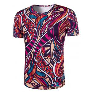 Slimming Collarless National Style Printing Short Sleeves For Men - COLORMIX 2XL