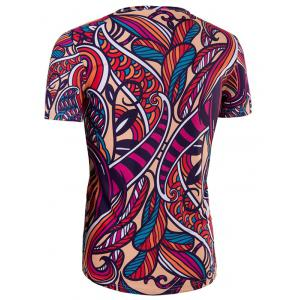 Slimming Collarless National Style Printing Short Sleeves For Men -